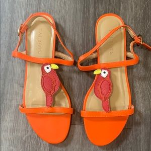 Talbots Bird Parrot Sandals Orange 7